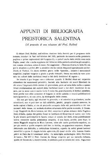 appunti di bibliografia preistorica salentina - culturaservizi.it