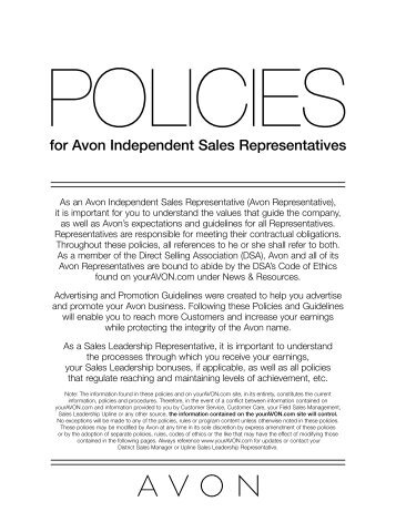 for Avon Independent Sales Representatives