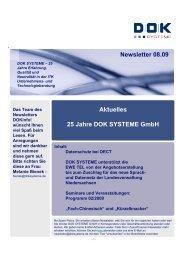 Newsletter 08.09 Aktuelles 25 Jahre DOK SYSTEME GmbH