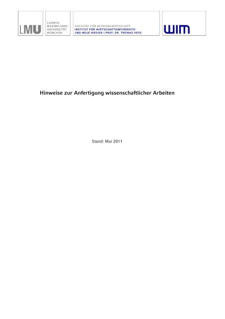 wissenschaftlichen Formalia - Institut für Wirtschaftsinformatik und ...