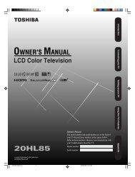 20HL85 Owner's Manual - English - Toshiba Canada