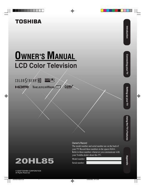 Toshiba regza tv manual for models 42,47,52 hl167 | ebay.