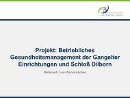 Projekt: Betriebliches Gesundheitsmanagement der Gangelter ...