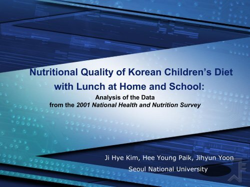 Nutritional Quality of Korean Children's Diet with Lunch at Home and ...