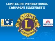 LIONS CLUBS INTERNATIONAL CAMPAGNE SIGHTFIRST II