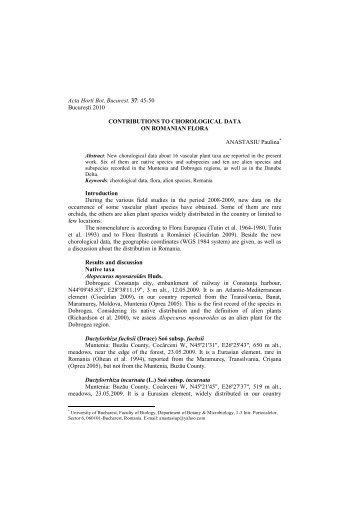 Acta Horti Bot. Bucurest. 37: 45-50 Bucureşti 2010 ... - Specii Invazive