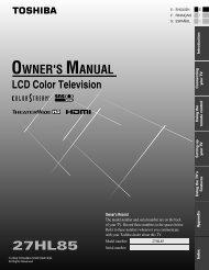27HL85 Owner's Manual - English - Toshiba Canada