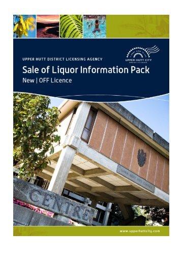 Sale of Liquor Information Sheet - Upper Hutt City Council