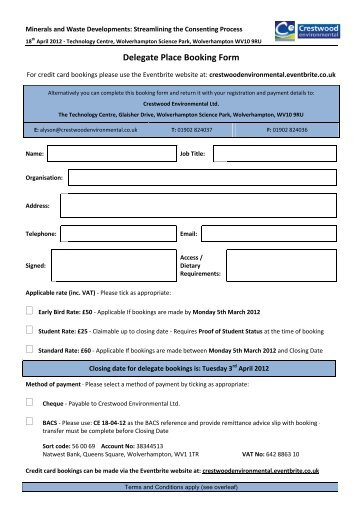 Delegate Place Booking Form