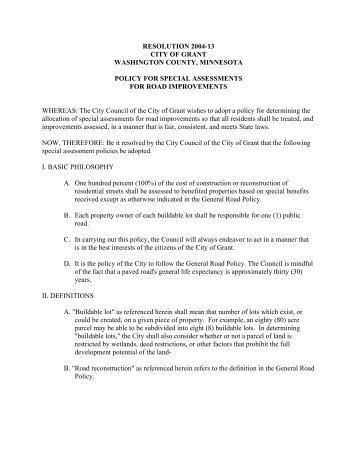 Grant Resolution 2004-13