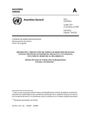 Informe del Grupo de Trabajo sobre Desapariciones ... - Acnur