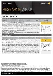 STOCKS TO WATCH - CommSec