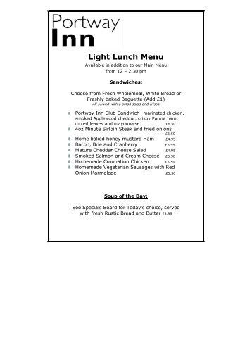 Light Lunch Menu - Hay-on-Wye