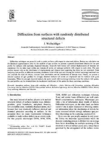 Diffraction from surfaces with randomly distributed structural defects