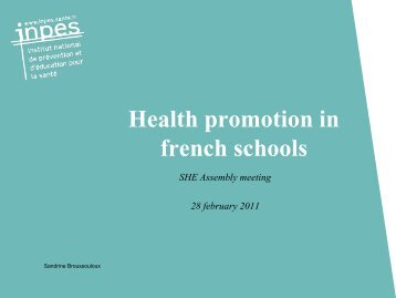 Health promotion in french schools - Inpes