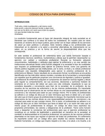 Codigo de etica para Enfermeros - Comisión Nacional de Arbitraje ...
