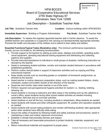 Teacher Aide Position Description  Hamburg Central School District