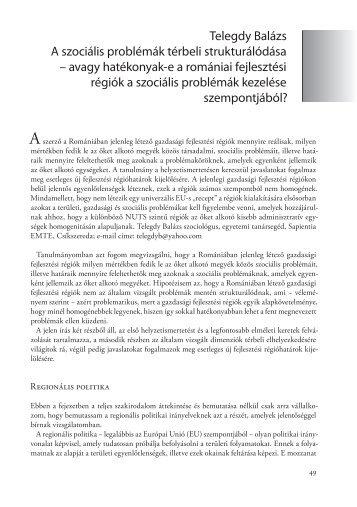 Telegdy Balázs A szociális problémák térbeli strukturálódása ...