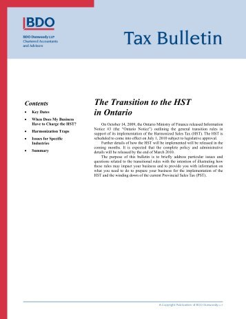 Ontario to Harmonize its Sales Tax with the GST - BDO Canada