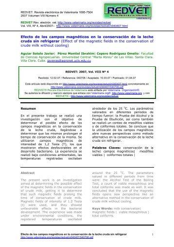 Efecto de los campos magnéticos en la ... - Veterinaria.org