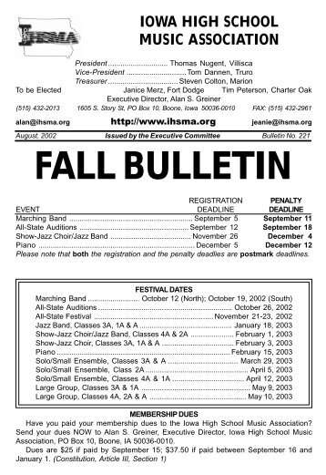 Fall Bulletin No. 221 - The Iowa High School Music Association