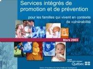 Services intégrés de promotion et de prévention pour les familles ...