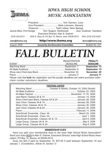 Fall Bulletin No. 227 - August 2005 - The Iowa High School Music ...