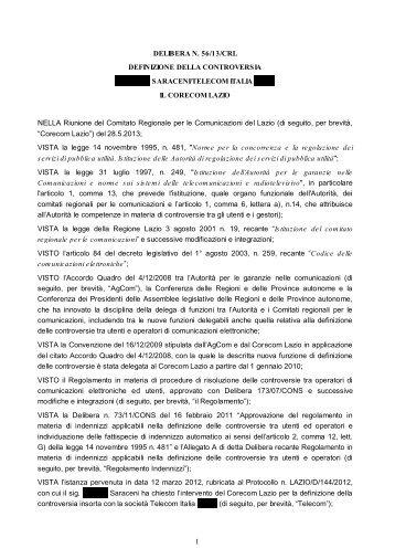 DELIBERA N. 56/13/CRL DEFINIZIONE DELLA ... - Corecom Lazio