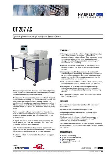 OT 257 AC - Haefely Test AG