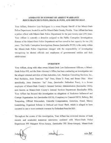 Affidavit affidavit in support of arrest warrants cbs miami thecheapjerseys Choice Image