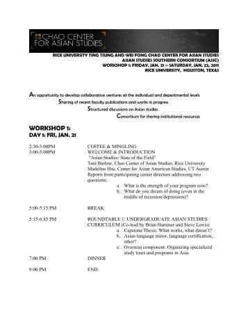 WORKSHOP 1: - Chao Center for Asian Studies - Rice University