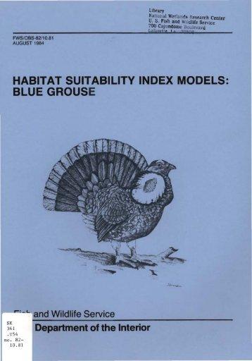 habitat suitability index models: blue grouse - USGS National ...
