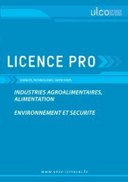 Licence pro industries agroalimentaires alimentation - Université du ...
