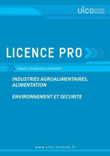 Licence pro industries agroalimentaires alimentation - Université du ...