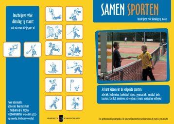 Inschrijven vóór dinsdag 13 maart - kies je sport