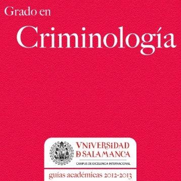 Grado en Criminología 2012-2013 - Universidad de Salamanca