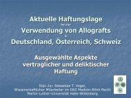 Aktuelle Haftungslage bei der Verwendung von Allografts - AGA
