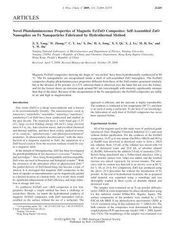 Novel Photoluminescence Properties of Magnetic Fe/ZnO ...