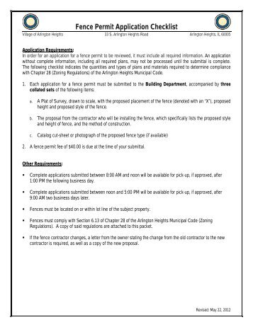Fence Permit Application Checklist - Village of Arlington Heights
