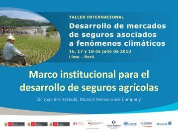 Marco institucional para el desarrollo de seguros agrícolas
