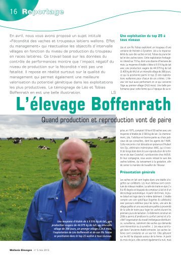 L'élevage Boffenrath: quand production et reproduction vont de paire