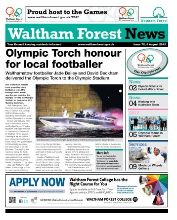Olympic Torch honour for local footballer - Waltham Forest Council