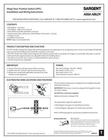 harmony dps installation and wiring instructions sargent locks