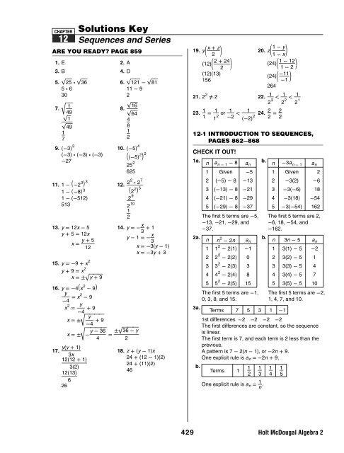 Algebra 2 Ch 12 Solutions Key A2 Ch 12 Solutions Key