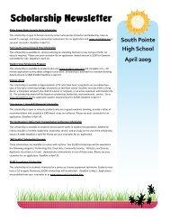 Scholarship Newsletter - South Pointe High School