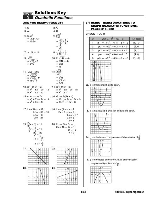 Algebra 2 Ch 5 Solutions Key A2 Ch 5 Solutions