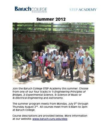 Summer 2012 - Baruch College - CUNY