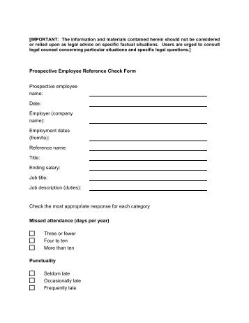 employer reference check form