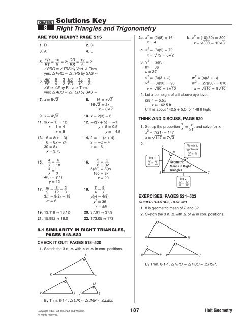 Geometry Ch 8 solutions key geo_ch_8_solutions_key.pdf ...