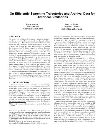 On Efficiently Searching Trajectories and Archival Data for Historical ...
